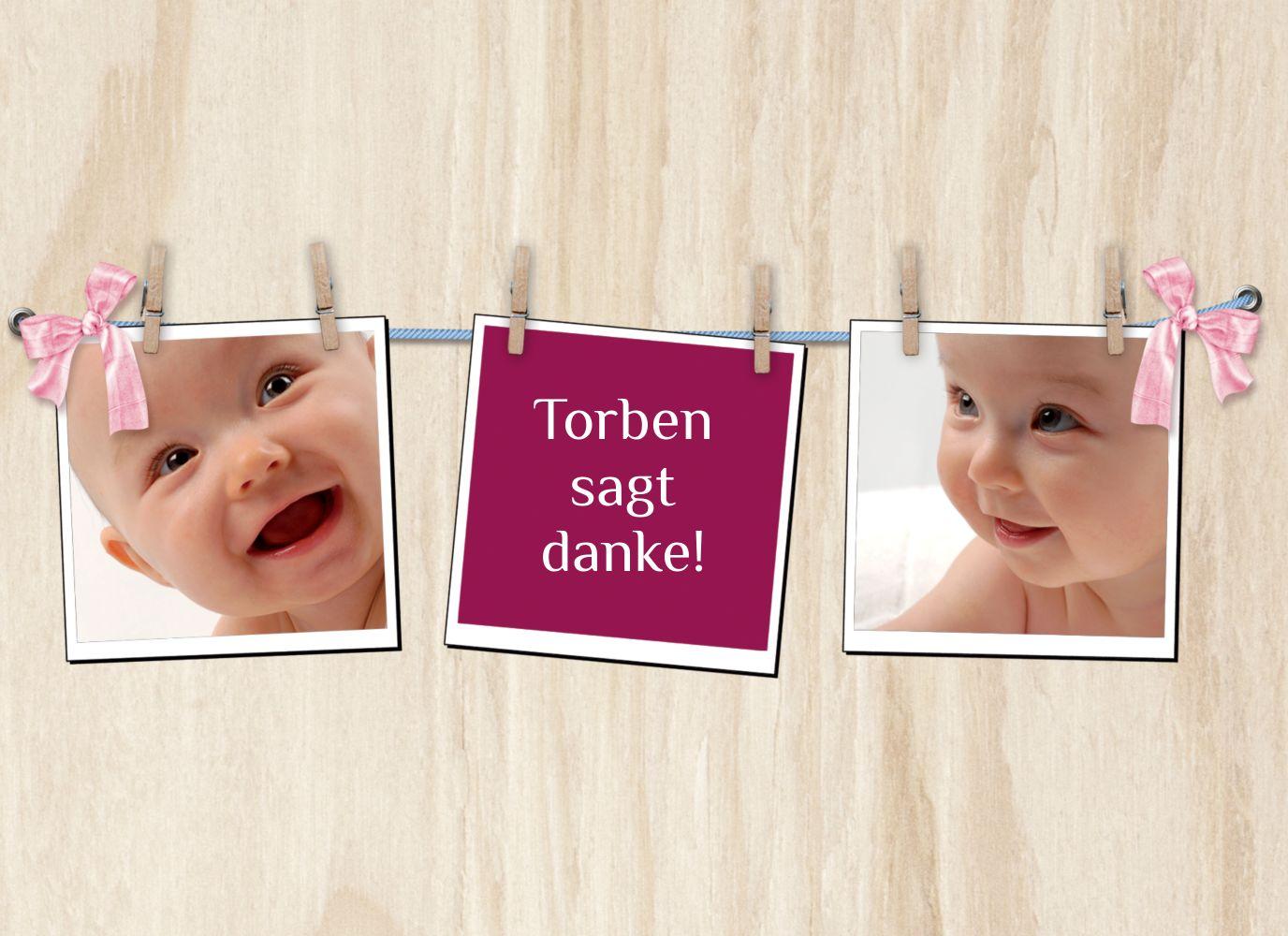 Ansicht 3 - Baby Dankeskarte Schleife
