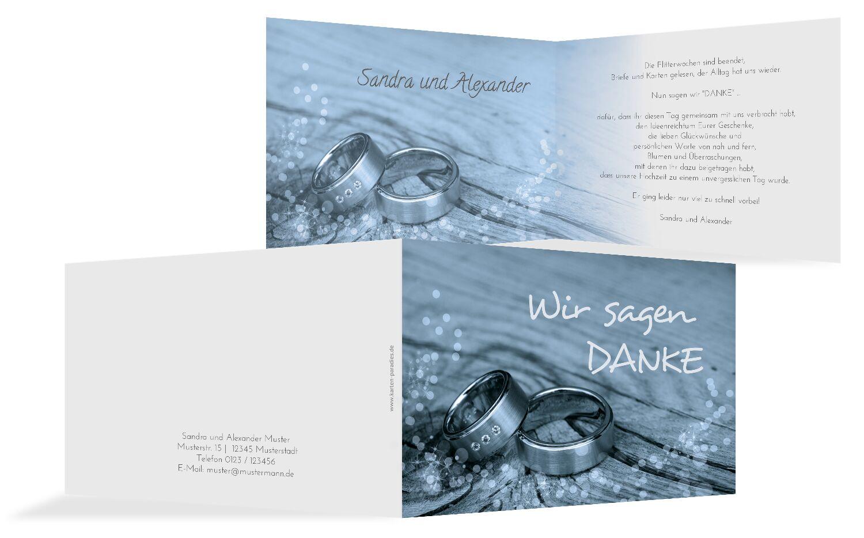 Hochzeit Dankeskarte 2 Eheringe