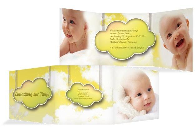Taufkarte Fluffy Cloud