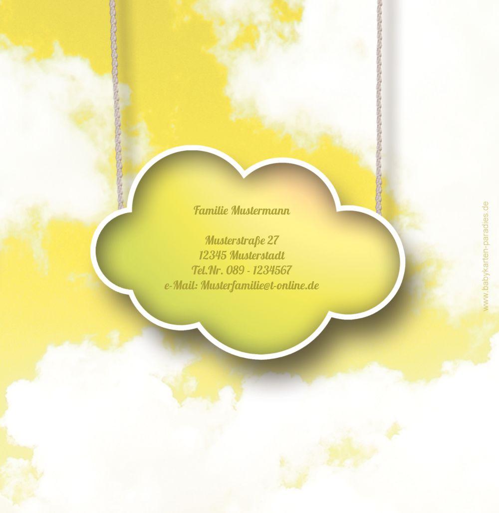 Ansicht 3 - Taufkarte Fluffy Cloud