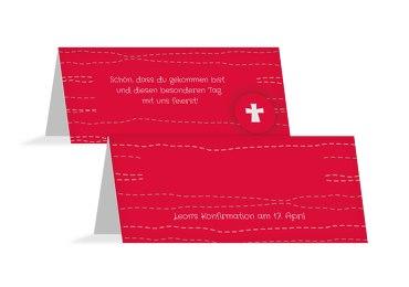 Konfirmation Tischkarte Wellen Kreuz