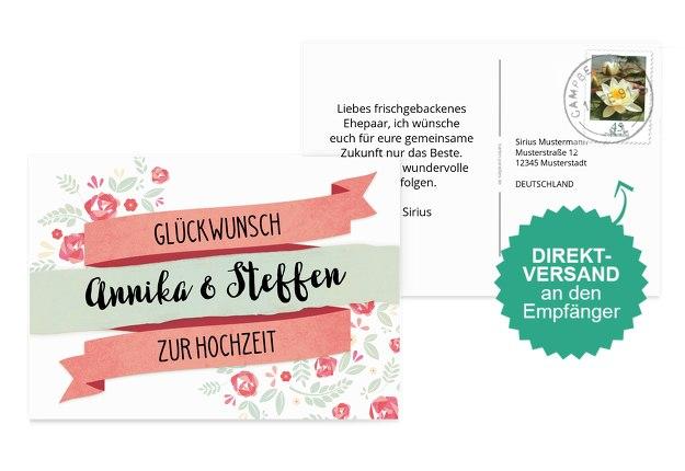 Glückwunschkarte zur Hochzeit Banner