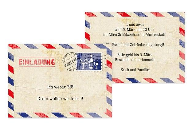 Einladung zum Geburtstag Luftpost