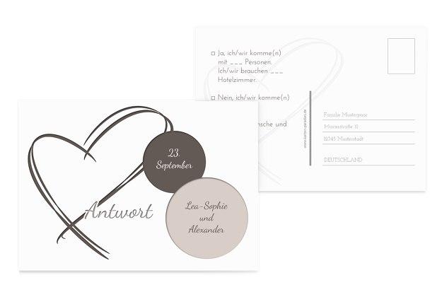 Hochzeit Antwortkarte Doppelherz