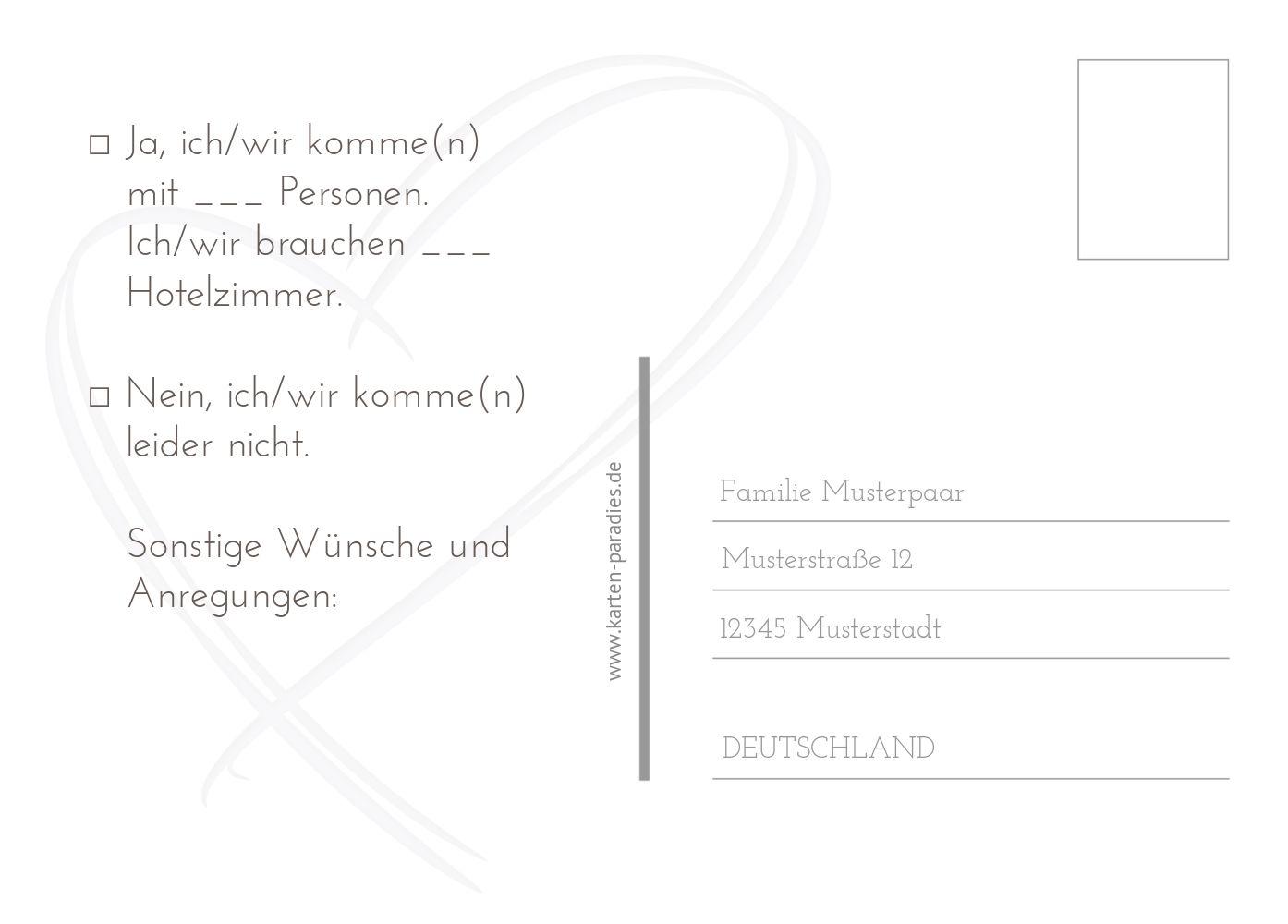 Ansicht 3 - Hochzeit Antwortkarte Doppelherz