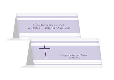 Tischkarte zur Kommunion Kreuz