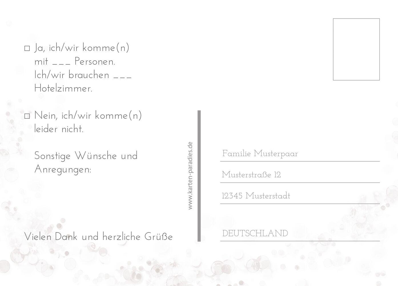 Ansicht 3 - Hochzeit Antwortkarte Eheringe