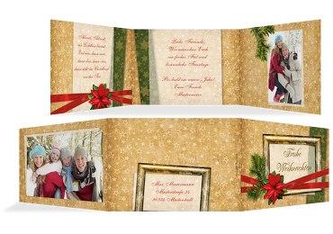 Grußkarte Weihnachten Foto Goldenes Geschenk
